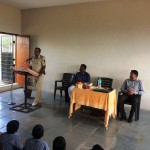 Police Inspector, Pathardi Police Station Guiding to the students of the school about safety of the civil life.